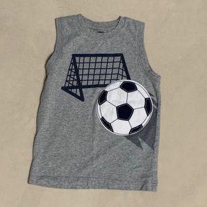 Boys Gymboree sleeveless soccer tank shirt 7 gray